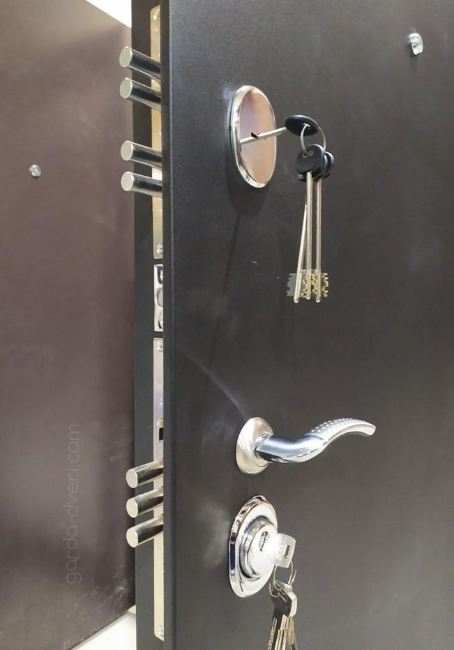 дверь Гарда S1 Черный шелк, замки вид снаружи
