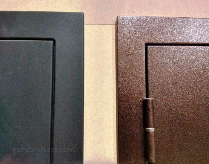 Двери Гарда S1 различие покрытий Антик-медь и Черный шелк